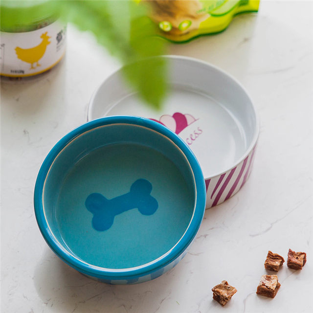 Bowl Bottom Dog Footprints Kreisförmige blaue Keramik Dog Bowl Ceramic Pet Feeder